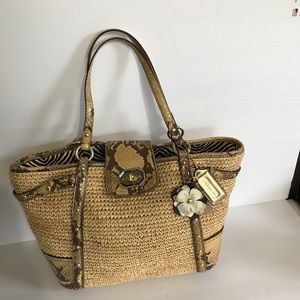 Coach Natalie Rafia Straw Leather bag Python Trim